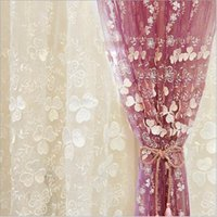 Wholesale Voile Lace Curtains - High end lace Korean type 3D relief Window sheer Curtains Tulle voile for Living Room kid's Bedroom white purple 1pcs wholesale fabric price