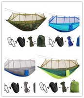 Wholesale Newest Portable Parachute Fabric Mosquito Net Hammock For Outdoor Camping Using Survival Hunting Leisure Travel Parachute Hammocks