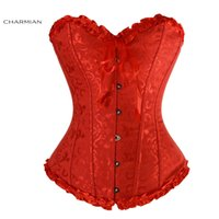 Wholesale Christmas Shapewear - Charmian Women's Sexy Christmas Overbust Corset Bustier Plus Size Waist Trainer Cincher Body Shapewear Embroidered Corselet