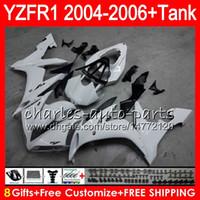 yamaha yzf r1 beyaz perdeler toptan satış-YAMAHA Için 8Hift 23 Renk Vücut YZF1000 YZFR1 04 05 06 YZF-R1000 parlak beyaz 58HM8 YZF R 1 YZF 1000 YZF-R1 YZF R1 2004 2005 2006 Fairing kiti