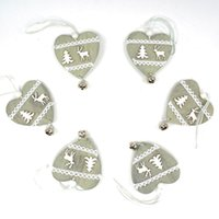 Wholesale Metal Heart Ornaments - Wholesale-reindeer Christmas decoration wood heart with small bell hanging decor free shipping Christmas decoration for home