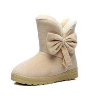 Wholesale Wholesale Wedge Boots - Wholesale- 2016 HOT ! Warm Bow Boots Women Winter Snow Women Plush 2016 Lady Boots Platform Black & Beige & Brown