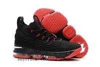 Wholesale Fabric Zippers - KITH x LeBron 15 Black Red basketball shoes For Sale Arrival with Zipper James 15 Sneakers LBJ 15s Airs Cushion Sports size us7-us12