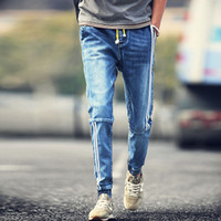 Wholesale Spliced Jeans - Wholesale-Casual Hot Sale Jeans Homme Summer Style 2016 Japanese Retro Washed Denim Trousers Slim Spliced Striped Jeans Skinny Male