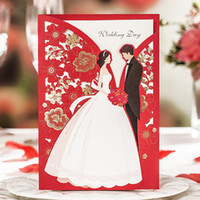 Wholesale Red Wedding Invites - Engagement 2017 New Couples Design Wedding Invitations Elegant Laser Cut Groom & Bride Red Invite Happiness Cards JJ775