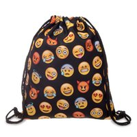 Wholesale Travel Cloth Shoulder Bag - Drawstring Bag Cartoon Oxford Cloth Both Shoulders Backpacks Emoji Bundle Pocket Black Travel Storage Articles 8 5gl C R