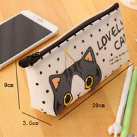 Wholesale Wholesale Zip Pencil Bags - Wholesale-1x Cute cat Waterproof PU leather zip Pencil Bag Pencil Case School Supplies Cosmetic Bag children gift stationery Free shipping