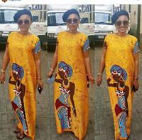 Wholesale Summer Party Dresses Design Casual - 20017 New Fashion Design African Women Bazin Riche Super Elastic Party Diamond Pattern Loose Dashiki Dress