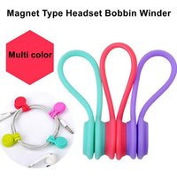 Wholesale Wholesale Magnet Wire - 3PCS lot Silicone Magnet Coil Earphone Cable Winder Headset Type Bobbin Winder Hubs Cord Holder Cable Wire Organizer with Retail Package
