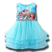 Wholesale Girls Short Fancy Dress - New Summer Fancy Girl Moana Cartoon Princess Dress for Kids Girls Tiered Dresses Clothes Childrens Blue Dress Clothing Ball Gown