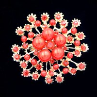Amazing Red Pearl et cristaux rouges Pretty Flower Wedding Bridal Bouquet Brooch Cheap Wholesale Factory Prix de vente Femme Broach Pin