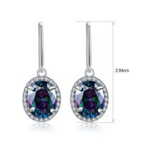 Wholesale Fire Topaz Earrings - Wholsale Fashion Jewelry Women Solid 925 Sterling Silver Fire Mystic Topaz Oval Shape Drop Earrings Teardrops Dangler Excellect Quality