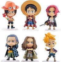 Wholesale One Piece Marco - Hot NEW 6pcs set 10cm One piece Akakami no shankusu ace luffy Marco Action Figure toys doll Christmas gift