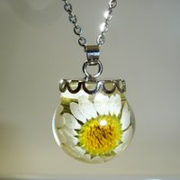 Wholesale Wholesale Craft Stainless Steel Chains - Acrylic Solid Ball Dried Sunflower Pendant Necklace Trendy Fine Daisy Crafts Jewelry Gift For Women Girl Gift