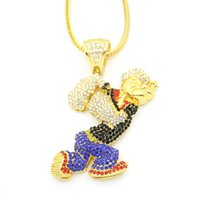 Wholesale Large Pendants Jewelry - New Bling Bling Iced Out Large Size Cartoon Movie Crystal pendant Hip hop Necklace Jewelry 36inch Franco chain N634