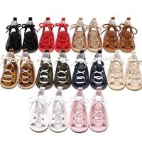 Wholesale Girls Roman Sandals - 2017 New Baby PU Retro Roman sandals rubber bottom infant First Walkers newborn baby Walkers shoes 10 colors C1902