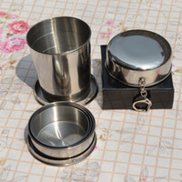 Wholesale Steel Camp Mug - Portable Stainless Steel Folding Drinking Wine Cup Mug for Outdoor Travel Camping Picnic Key Chain Collapsible Telescopic Cups