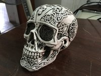 Wholesale wealth flower - grey and whote flower pattern scary human skull head home decoration resin skull and Halloween craft for study room decor ornaments