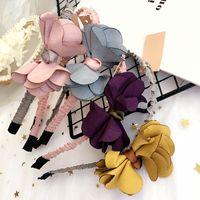 Wholesale Korean Hair Accessories Bow Fashion - Flower Girls Hair accessories 3D Flowers Children Hair Clasp Korean Fashion Kids Hairband Sweet baby hair bows headbands C2202