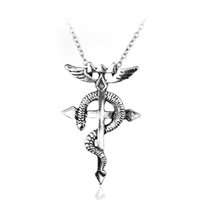 Wholesale Fullmetal Alchemist Necklace - Wholesale-Anime Series Fullmetal Alchemist Edward Magic Symbol Snake Cross Pendant Necklace Wholesale And Retail