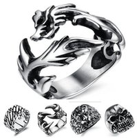 New Fashion Punk Jewelry Accessoires délicats Acier inoxydable Chinois Dragon Shape Trendy Ring for Men 170816