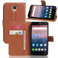 Wholesale Branded Pop Phone - For Alcatel POP 4 5051D Case 5 inch Luxury PU Leather Back Cover Case For Alcatel One Touch Pop 4 Case Flip Protective Phone Bag