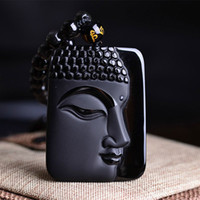Wholesale Obsidian Necklace For Men - Free shipping 100% Natural Obsidian Stone top fashion crystal pendant Buddha Buddha Head necklace Pendant gift for men and women