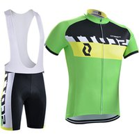 Wholesale White Orange Cycle Wear - Vacove Brand New 2017 Pro Team SCOTT cycling jersey Green bike shorts set Ropa Ciclismo quick dry pro cycling wear bicycle Maillot Culotte