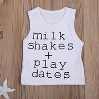 Mikrdoo 18-24M Summer Hot Tank Top Newborn Infant Baby Boy Girl Tops sem molas Milk Shakes Play Datas T impressa T Shirts Cotton Outfits