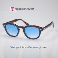 Wholesale Blue Artists - Vintage Johnny Depp Sunglasses Blue Gradient Lens Artists Mens Tortoise Eyeglasses