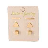 3 Paires / ensemble Simple Alliage Triangle Bar Stud Boucles D'oreilles Set pour Femmes Or Couleur Petit Géométrique Carré Oreille Manchette Mode Bijoux