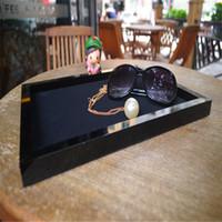 kadife mücevher saklama tepsileri toptan satış-Klasik Tasarım Dikdörtgen Saklama Tepsisi Siyah Akrilik kadife kapak ile Yüksek dereceli Mücevher Kutuları için Kozmetik Saklama çantası masası Organizatör
