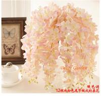 düğün asılı çiçekler toptan satış-30 ADET Yapay Ortanca Wisteria Çiçek DIY Simülasyon Düğün Kemer Için Kare Rattan Duvar Asılı Sepet Uzatılabilir olabilir Fv02