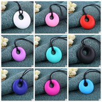 Wholesale BPA Free Silicone Round Teething Pendant Necklace Baby Pacifier Dummy Soother Chewing Teether Jewelry