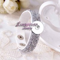 Wholesale Cross Diamond Ring - high quality 012 Imitation-diamond Korean velvet Bracelet Snap Button Jewelry Charm Bracelet fit 18mm buttons for women