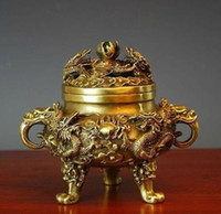 china fan dance 2021 - Collectible Chinese Brass Nine Dragons Kowloon incense burner