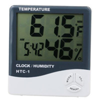 Wholesale big screen lcd - Fashion NEW Multi-function Digital Big LCD Screen LED Hygrometer Thermometer Temperature Humidity Meter Alarm Clock Indoor HTC-1