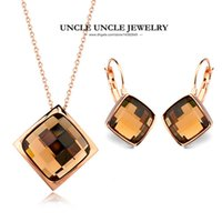 Colorida!!! Rose Gold Color Simple Square Sections Crystal Lady Jewelry Set Colar / Brinco Atacado