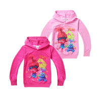 Wholesale Cute Winter Coats For Girls - cute kids hoodie sweatshirt coat causal anime cartoon trolls hoodie for 4-12yrs children boys girls outerwear clothes hot