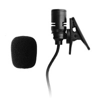 Wholesale Wire Clip Mic - Unidirectional Back electret type 3.3FT 3.5mm Mono Mic Braided Wire Lavalier Lapel Tie Clip-On Microphone With Bending Plug
