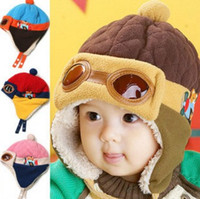 Wholesale crochet pilot hats resale online - 10 to Months Baby Winter Hat Colors Toddlers Cool Baby Boy Girl Infant Winter Pilot Warm Kids Cap Hat Beanie