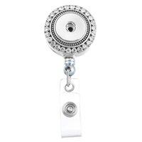Wholesale Rhinestone Reel - 2 Style 8.5x3.3cm Charm Inlaid Rhinestone Round Reel Clip ID Badge Holder DIY Accessory Interchangeable Snap Button Holder Brooch N172S
