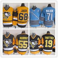 Wholesale Pittsburgh Embroidery - Embroidery Men's Pittsburgh Penguins Hockey Jersey #71 Evgeni Malkin 68 Jaromir Jagr #55 Larry Murphy 19 Bryan Trottier Murphy Jerseys