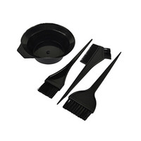 Wholesale Hair Bowls - 4 Pcs Hairdressing Brushes Bowl Combo Salon Hair Color Kit Dye Hair Tint Tool Set LB