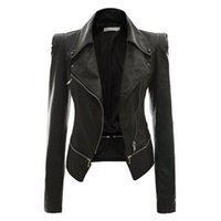 Wholesale Women Short Leather Jackets Wholesale - Wholesale- 2016 New European Style Fashion Short Women Jacket Casual Slim Pu Leather Women Coats Turn-Down Collar Ladies Coat Plus Size 2XL