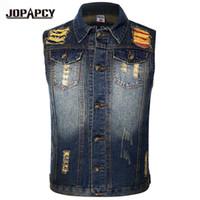 Wholesale wholesale denim jackets vests - Wholesale- 2017 Vintage Hole Washed Men Jeans Vest Hip Hop Men's Sleeveless Denim Jackets 6 Colors Caual Slim Waistcoat Plus Size MXF0067