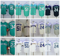 Wholesale Griffey S - 2017 Seattle Mariners Baseball Jersey Throwback 24 Ken Griffey Jr 51 Randy Johnson 34 Felix Hernandez 22 Robinson Cano 15 Kyle Seager Jersey