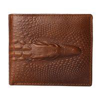 Wholesale Craft Crocodiles - Fashion Alligator Top Cow Genuine Leather Wallets For Men 2017 Crocodile Pattern Exquisite Craft Fashion Design Men Zipper Wallets