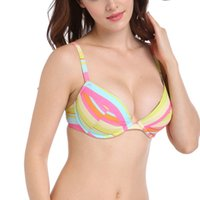 Wholesale Top Quality Sexy Swimwear - New Summer Sexy Western Women Bikini Bra Tops Striped Backless Elastic Swimwear Nylon Quick-Drying Durability Beachwear High Quality