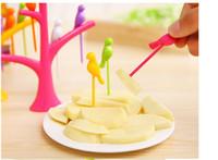 Wholesale Bird Dinnerware Set - Tableware Dinnerware Sets Creative Tree+Birds Design Plastic Fruit Forks 1 Stand+6 Forks Hot Sale Vegetable Fork Free Shipping